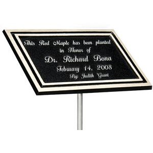 Cast Aluminum Outdoor Plaque-Stake Mount 4x6 - Black/Silver